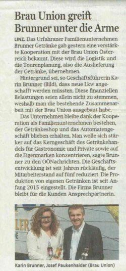 Zeitungsartikel Kooperation BrunnerBrauUnion 2016